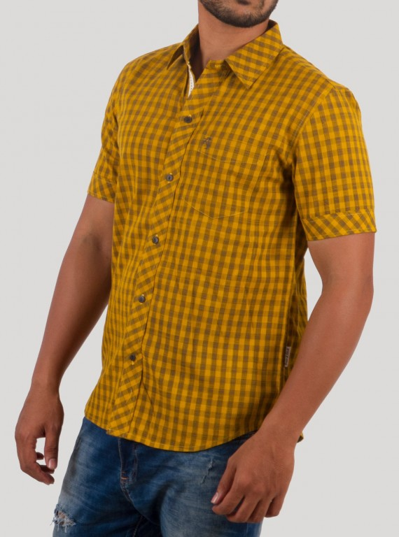 Light Brown Insert Check Shirt