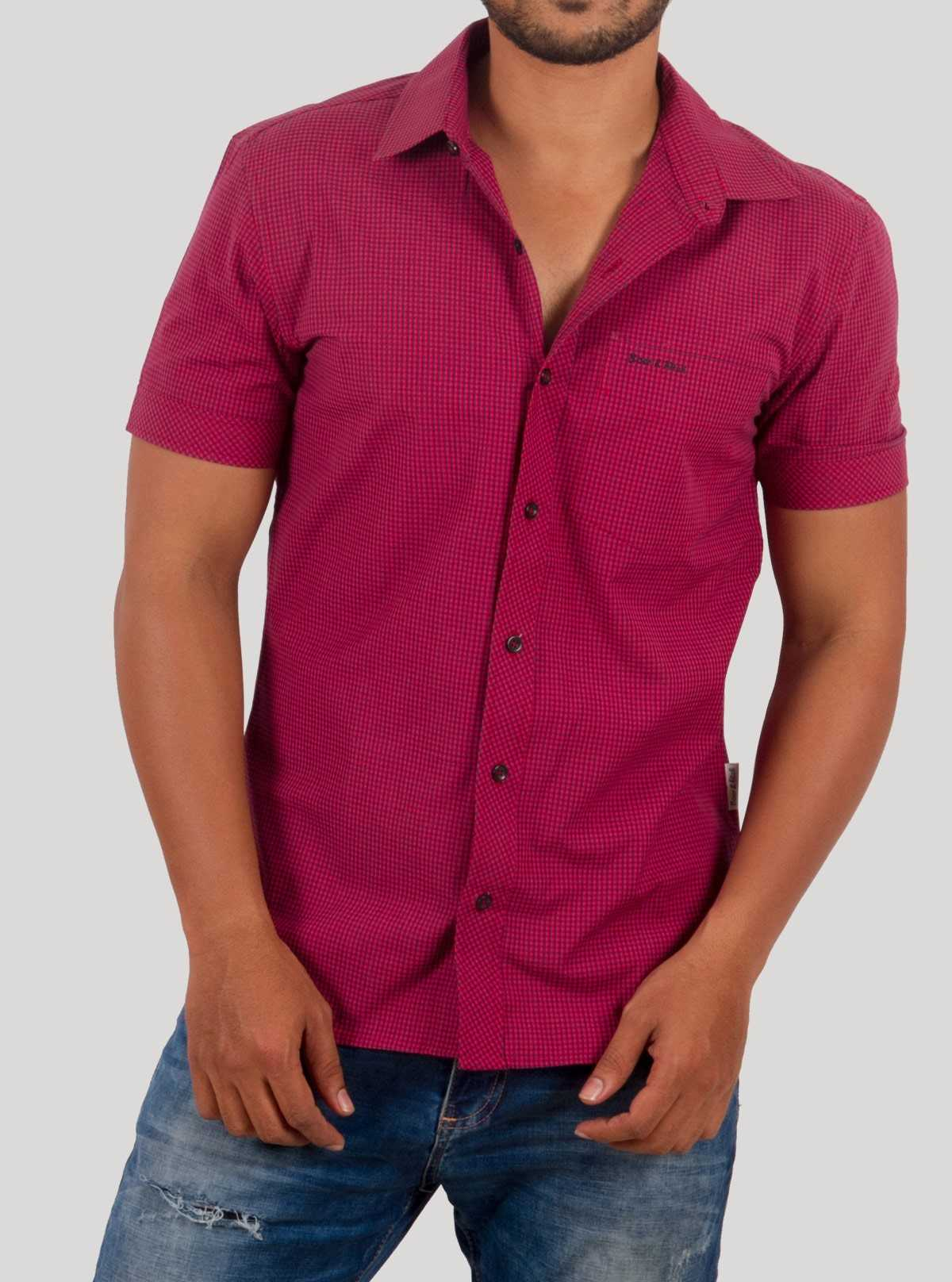 Red checkered short sleeve shirt
