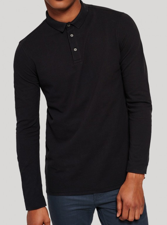 Black Long Sleeve Polo TShirt