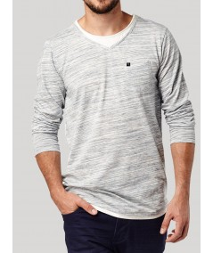 Fancy V Neck Slub Jersey Long Sleeve TShirt