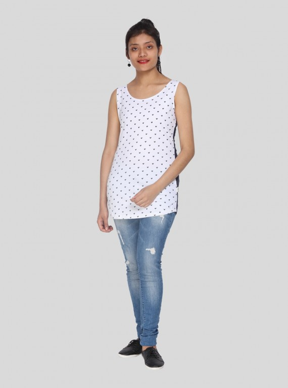 Sleeveless White Printed Top