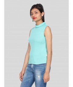 Blue Roll On Neck Sleeveless Top