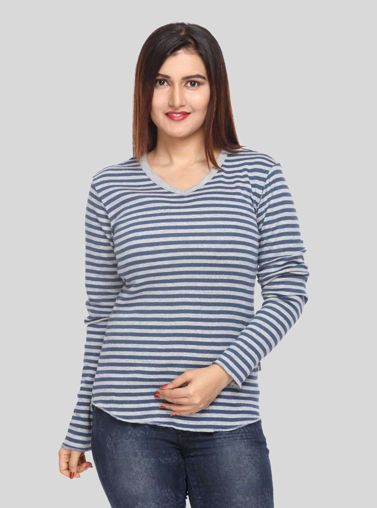 Grey Stripped Long Sleeve Top
