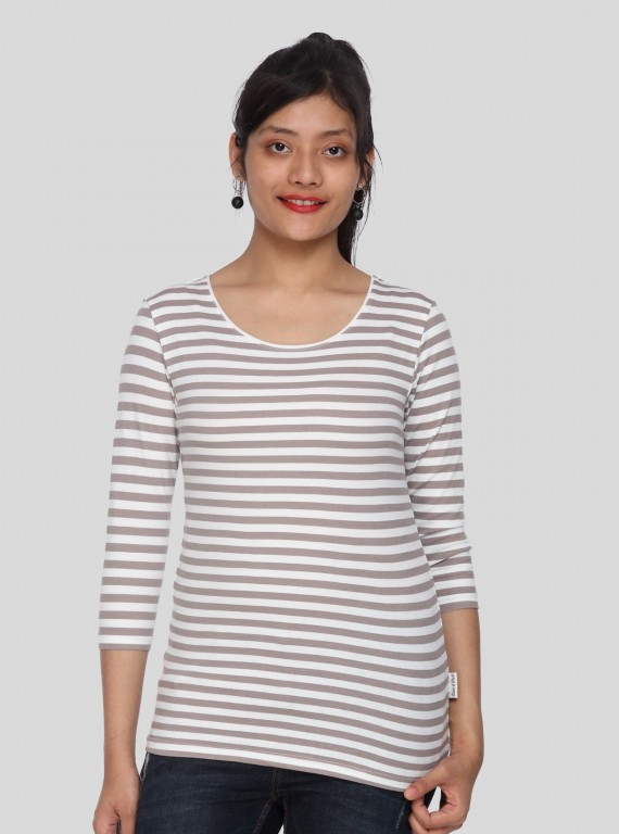 Women Brown Stripe TShirt