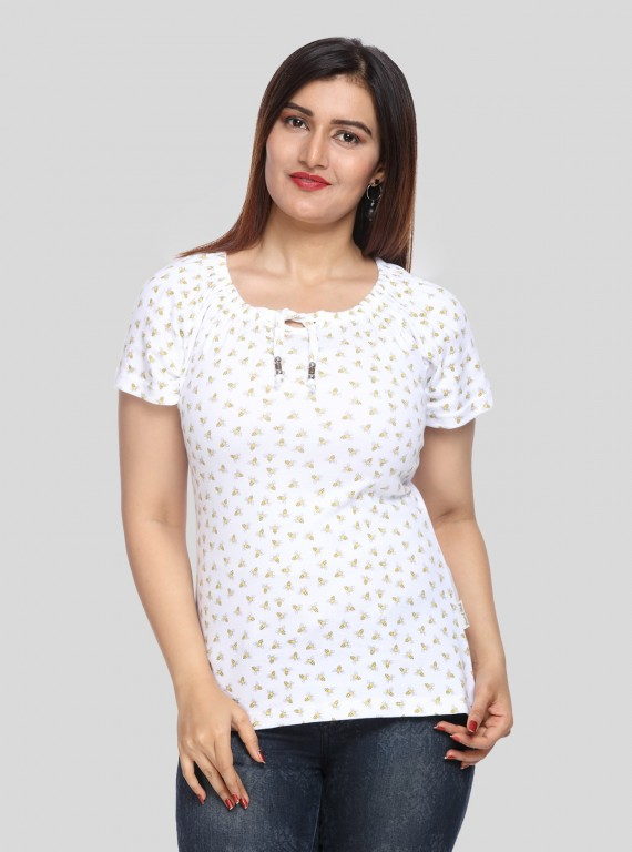 White Honey Bee Pleated Womens Top