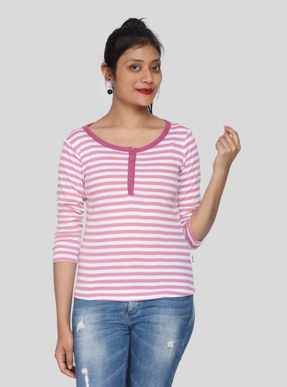 Fuschia Feeder Stripe Women's Top