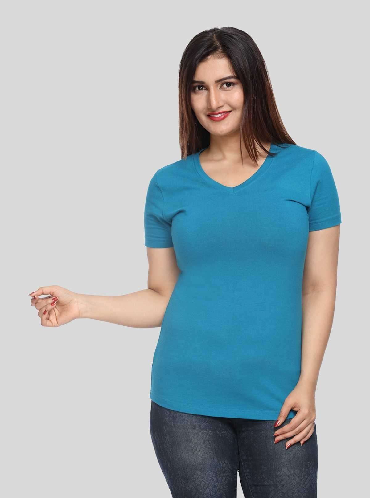 Womens Blue V Neck  Tee