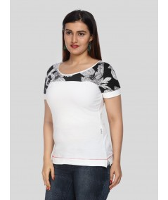 White Floral Cut & Sew Womens Top
