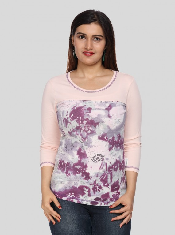 Baby Pink Printed Womens Top