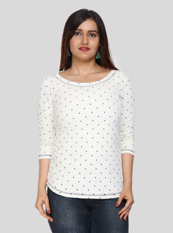 White Dot Print Fleeted Sleeve Tshirt