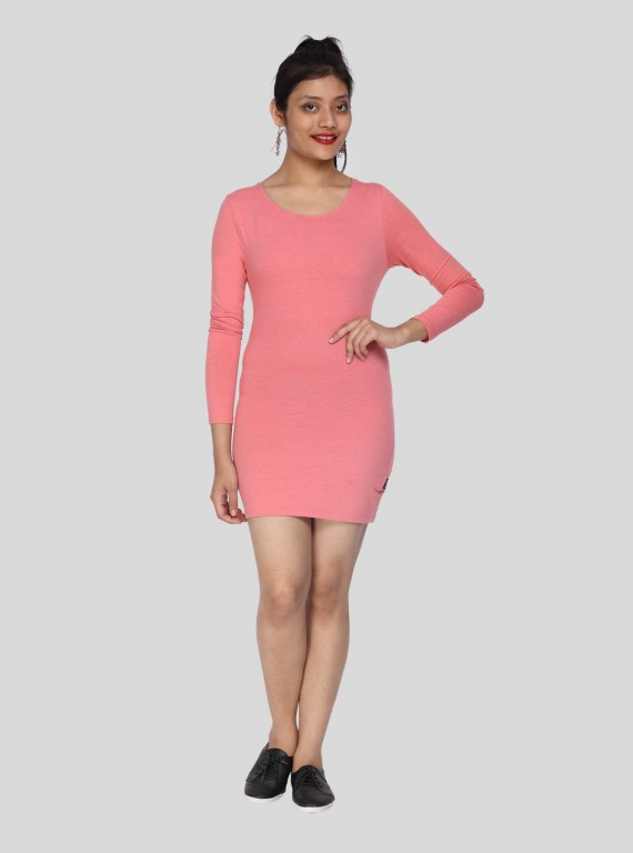 Long Sleeve Pink Womens Dress