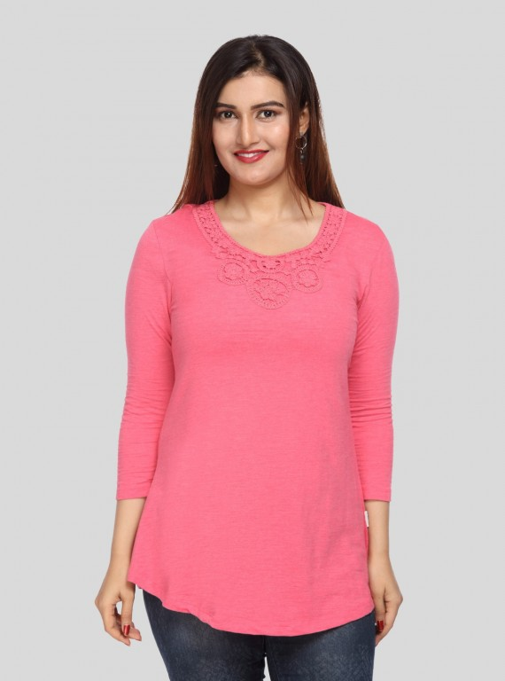 Fuschia Neck Lace Top