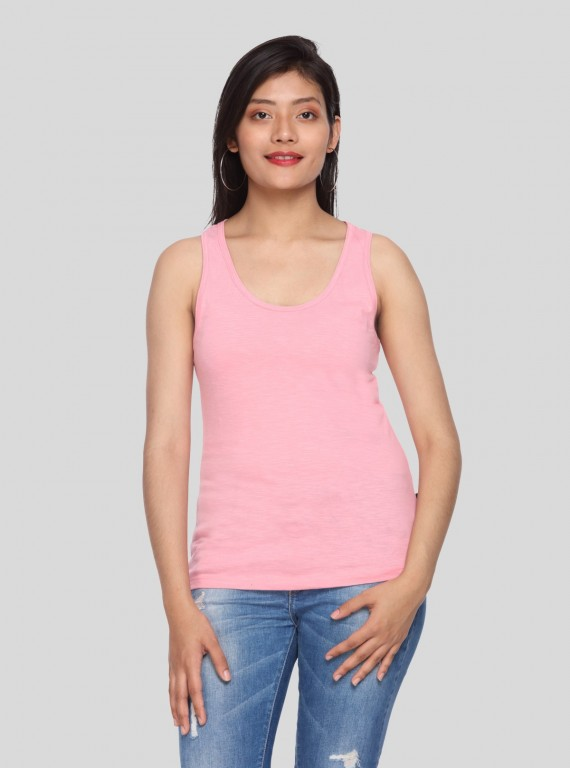 Pink Sleeveless Cross Top