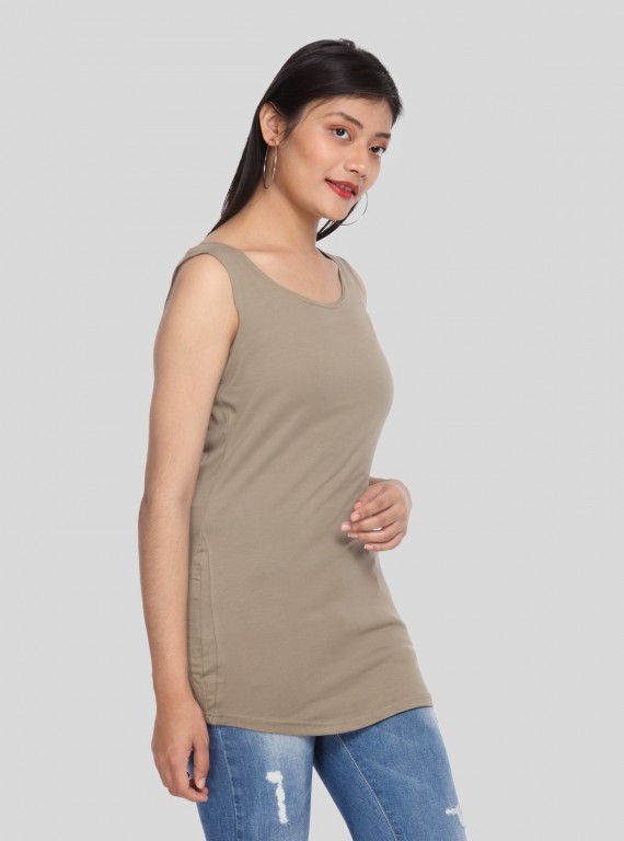 Brown Sleeveless Stretch Top