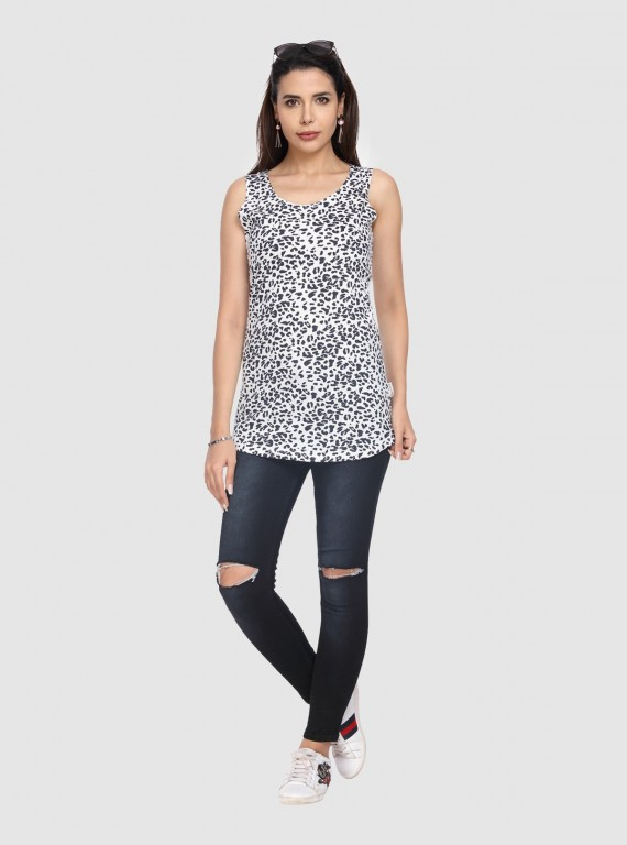 Black Graphic Sleeveless top