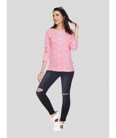 Red Printed Full Sleeve T Shirt