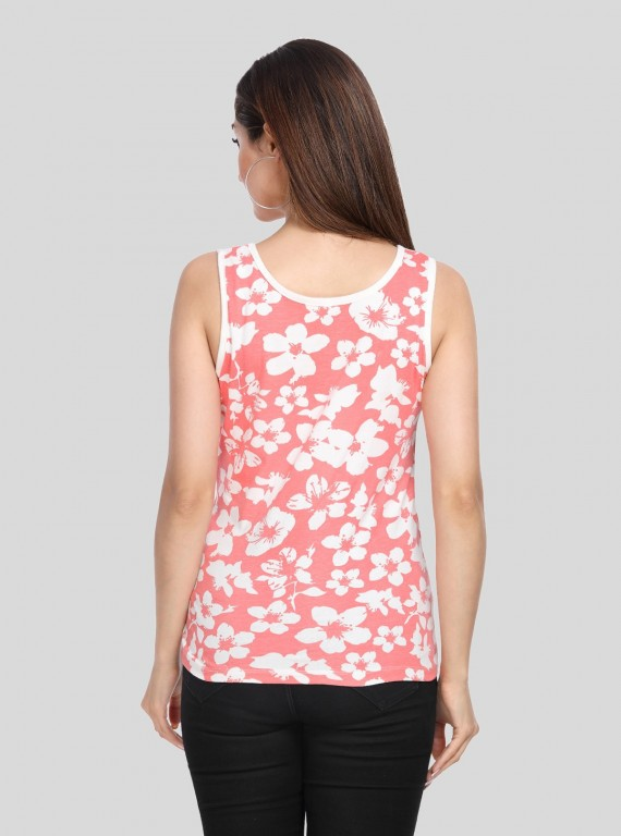 Orange Floral Printed Sleeveless Top