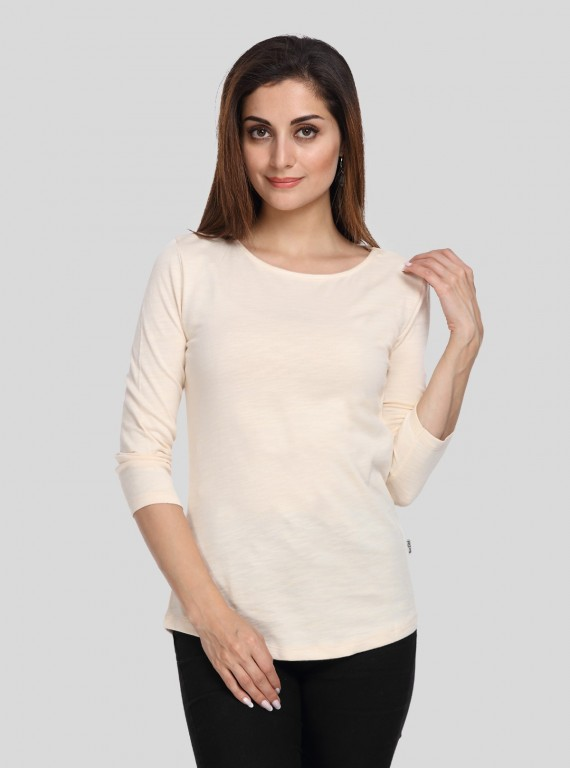 Ecru Solid Womens Top