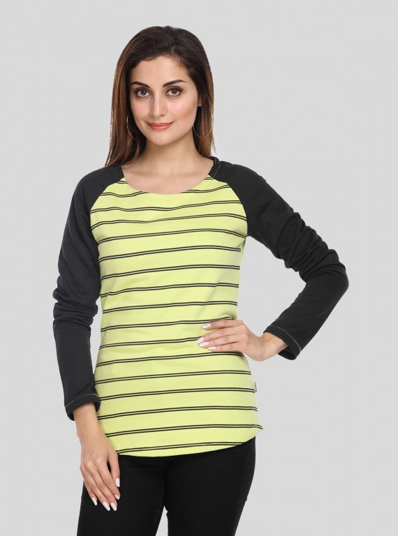 Green Stripe Print Sweat