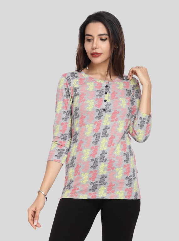 Contrast Multi Color Print Top