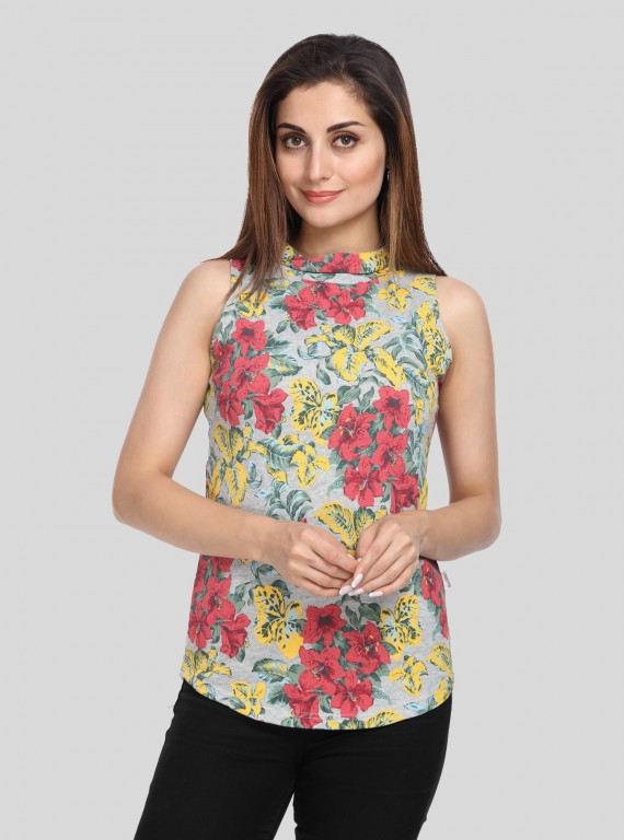 Floral Fleece High Neck Top
