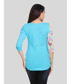 Turquoise Floral AOP Top