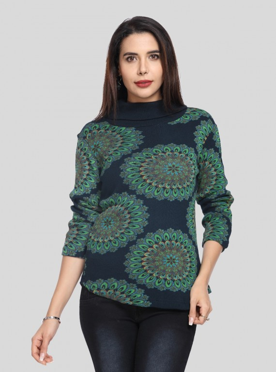 Flower Garden Roll on Neck Top
