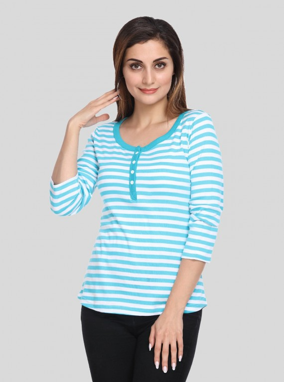 Turquiose Feeder Stripe Women's Top