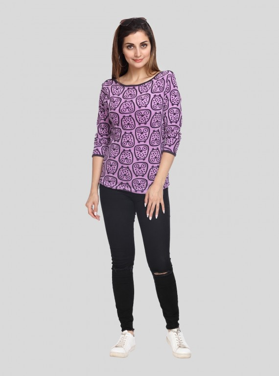 Puple Printed Velour Top