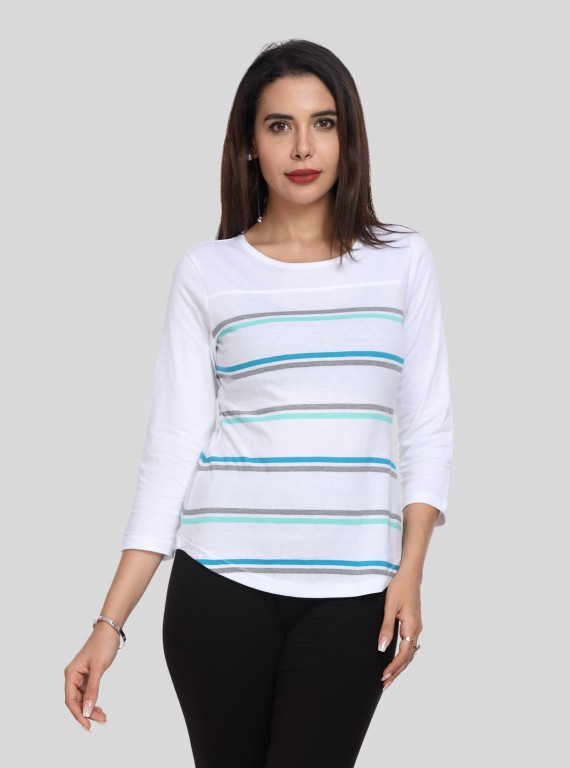White Stripe Womens Top