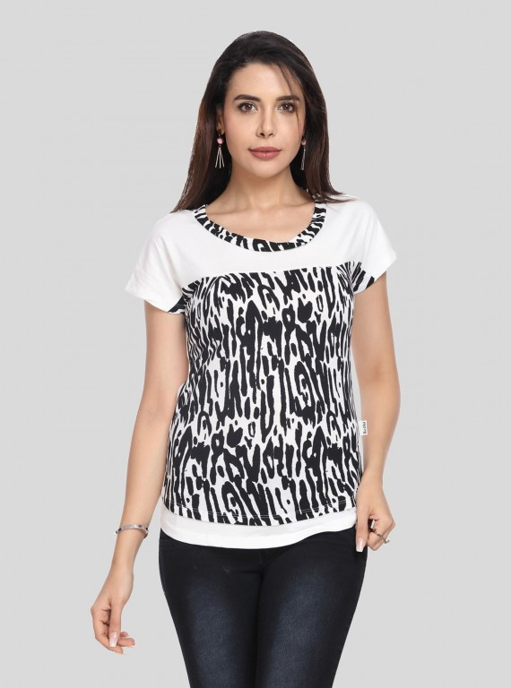 Ecru Graphic Cut & Sew Womens Top