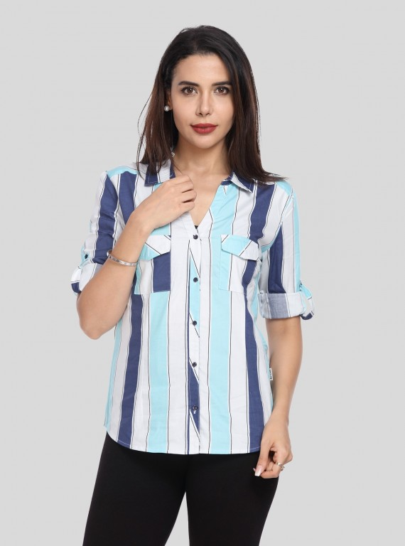 Blue Stripped Women Shirt