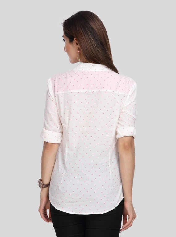 White Dotted Women Shirt
