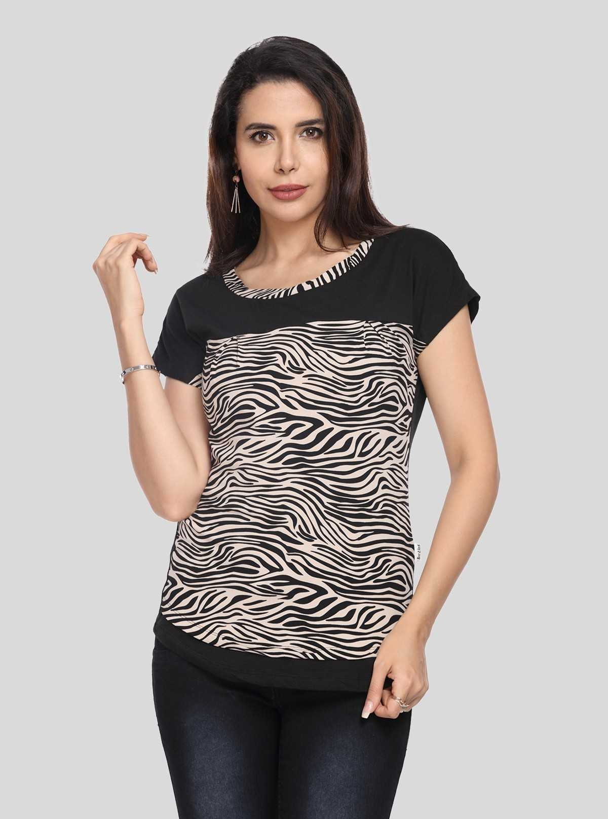 Zebra Print Black Cut & Sew Womens Top
