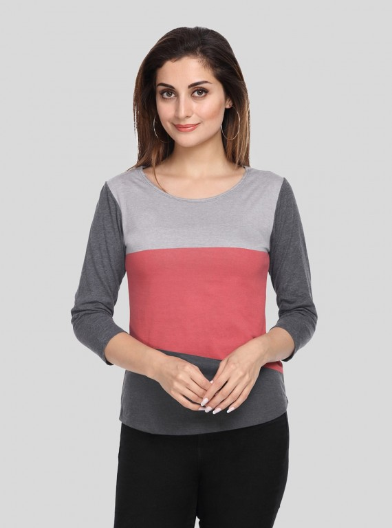 Dark Melange Contrast Womens Top