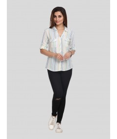 Green Stripe Women Shirt