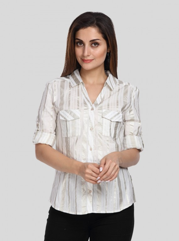 Silver Stripe Women Shirt