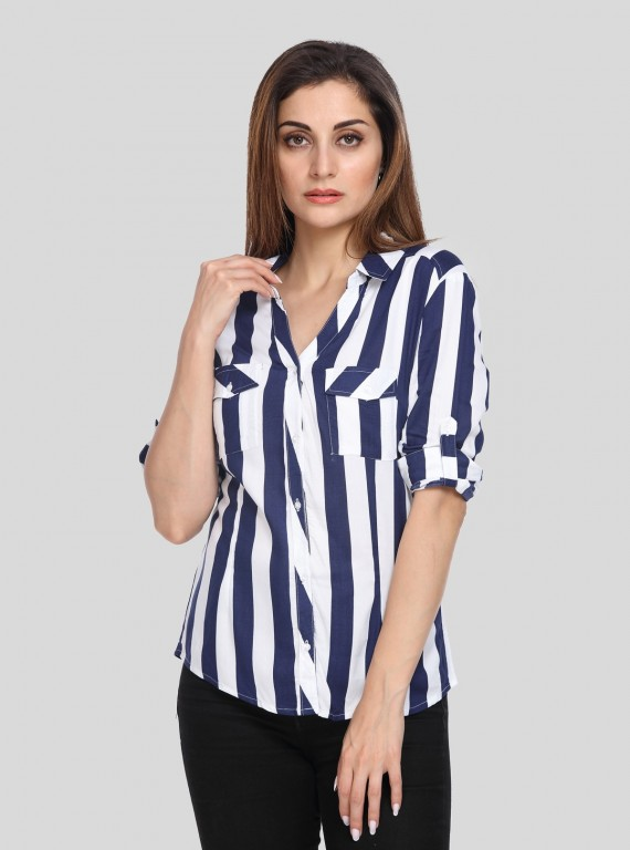 Grey Calm Stripe Women Shirt