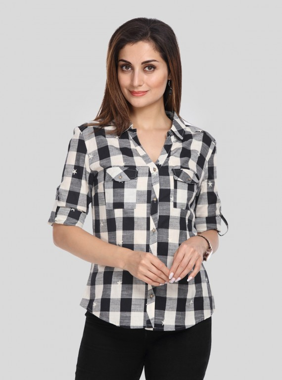 Black Checkered Women Shirt