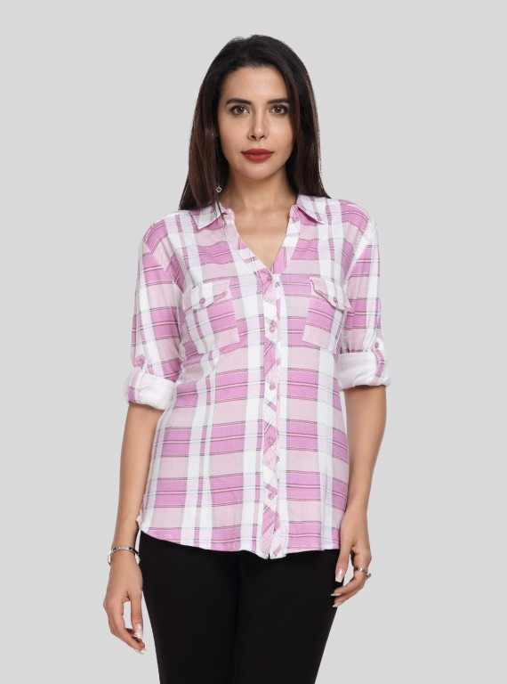 Baby Pink Checkered Women Shirt