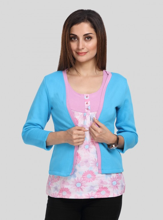 Turquoise Contrast Fleece Set Top