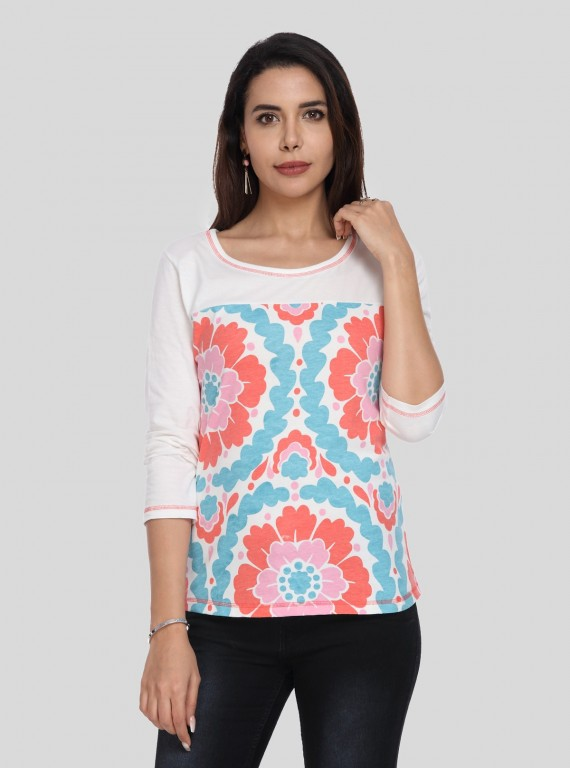 Womens Spring Flower Printed Top