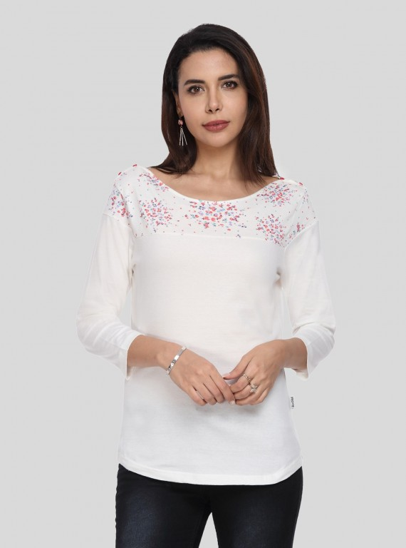 White Multi Color Printed Womens Top