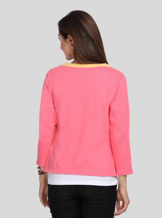 Contrast Fuschia Fleece Set Top