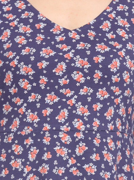 Blue Floral Scattered Top
