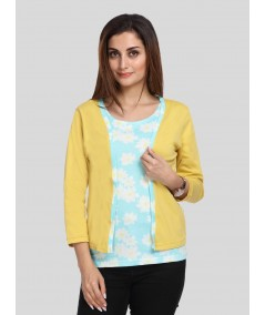 Mustard Contrast Set Top