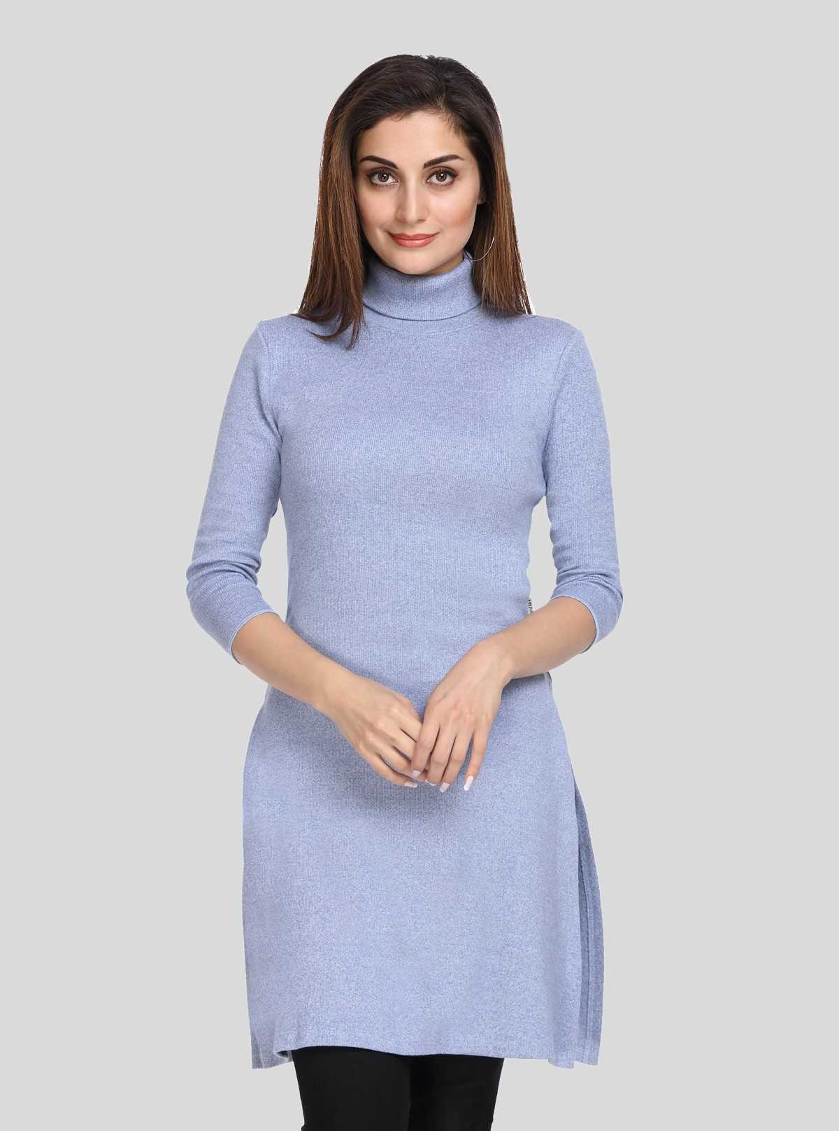 Blue Melange Roll On Neck Long Dress