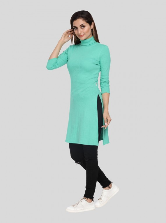 Green Roll On Neck Long Dress