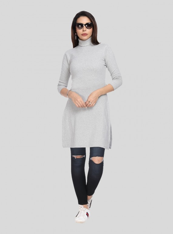 Grey Melange Roll On Neck Long Dress