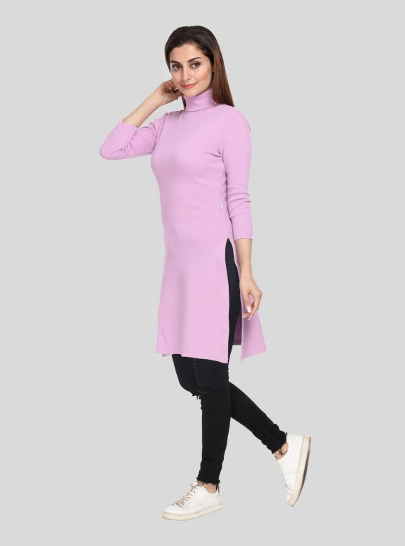 Pink Roll On Neck Long Dress